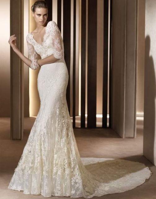 لباس-عروس-آستین-بلند-با-تور-دانتل
