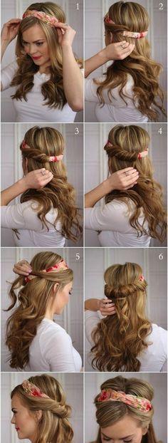بستن موها با دستمال سر